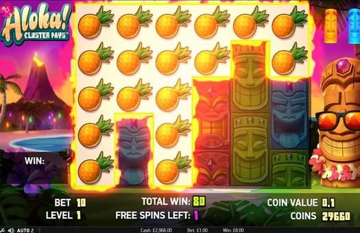 Комбінація символів в ігровому автоматі Aloha Cluster Pays