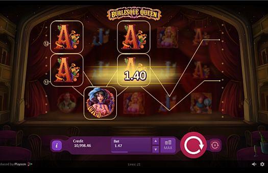 Призова комбінація з диким знаком в ігровому автоматі Burlesque Queen