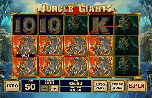 Призова комбінація символів в ігровому автоматі Jungle Giants