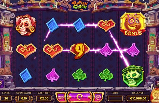 Призова комбінація на лінії в ігровому автоматі Pumpkin Smash